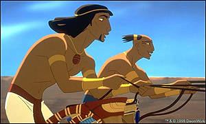 Moses (Val Kilmer) and Rameses (Ralph Fiennes) are fun-loving buddies in the 1998 animated Exodus story, The Prince of Egypt.