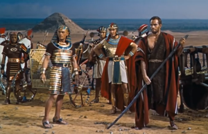 Rameses (Yul Brynner) kicks Moses out of Egypt in The Ten Commandments (1956).