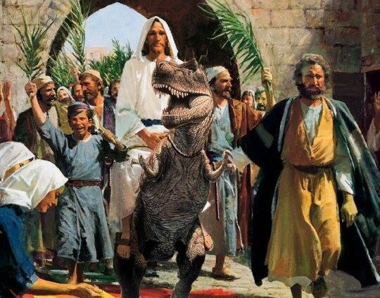 Happy Palm Sunday from Jurassic Park! (This photo serendipitously appeared on my Twitter feed on Friday.)