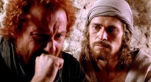Judas (Harvey Keitel) and Jesus (Willem Dafoe) in The Last Temptation of Christ