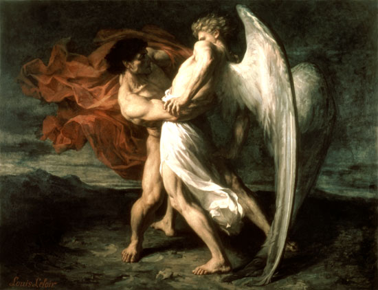 Jacob Wrestling with the Angel (1865 painting by Alexander Louis Leloir)