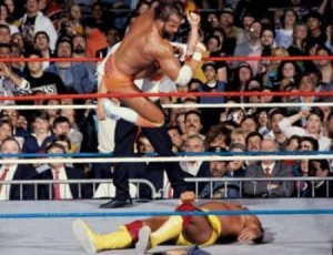 The Macho Man is about to land his patented flying elbow on Hulk Hogan, if I'm not mistaken. Oh yeah!
