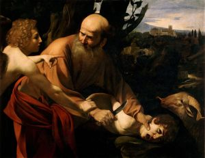 The Sacrifice of Isaac by Caravaggio, in the Baroque tenebrist manner