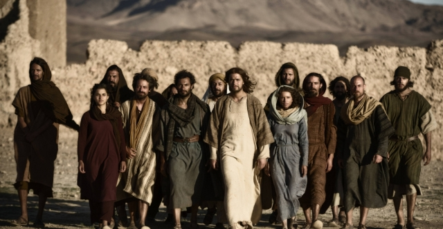 Jesus and the Twelve - plus Mary Magdalene and Mary, Jesus' mother, from The Bible miniseries.
