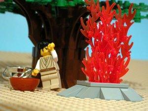From the Brick Testament Gallery, Gideon Demands a Sacrifice