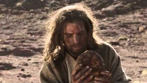 Satan dares Jesus to turn stones to bread in this scene from The Bible miniseries.