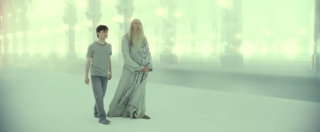 Harry Potter Daniel Radcliffe and Albus Dumbledore Michael Gambon in Kings Cross Station, in Harrys mind...