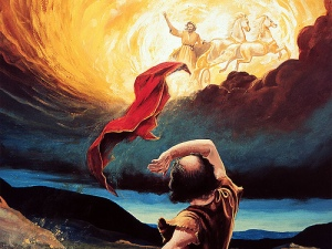 Elisha watches as his mentor is taken to heaven in a chariot of fire.