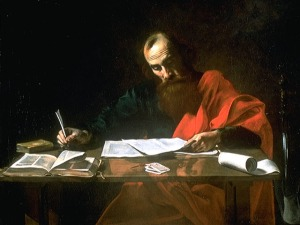 Saint Paul Writing His Epistles, by Valentin de Boulogne or Nicolas Tournier (c. 16th century, Blaffer Foundation Collection, Houston, TX).