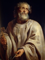 Saint Peter by Peter Paul Rubens shows the saint holding the Keys of Heaven and wearing the pallium.