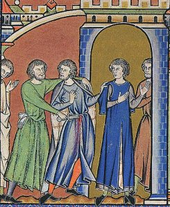Joab stabs Abner in the stomach, in this illustration from the Morgan Bible.