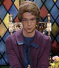 Dana Carvey's Churchlady, of 1980s Saturday Night Live fame, is who I think of when I hear the term 'religious people'.
