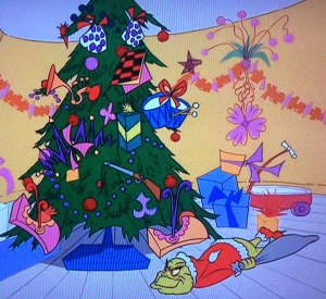 Only in Who-Ville does it make sense to put presents – pop guns, pampoogas, pantookas, and drums! checkerboards, bizilbigs, popcorn, and plums! – on the tree, rather than under it.