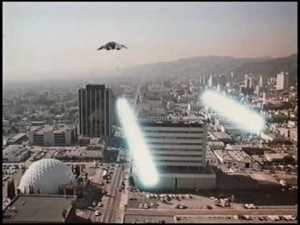 Los Angeles under Cylon attack: would a common enemy from outer space unite humanity like a common enemy from another dimension never could?
