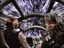 The Millennium Falcon jumps to light speed in Star Wars.