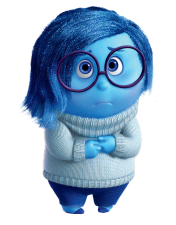 Sadness (Phyllis Smith), from the excellent Disney-Pixar film, Inside Out.