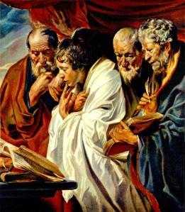 The Four Evangelists, Matthew, Mark, Luke and John – by JORDAENS – from Musée du Louvre, Paris