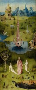 The Garden of Eden as depicted in the first or left panel of Bosch's The Garden of Earthly Delights Triptych