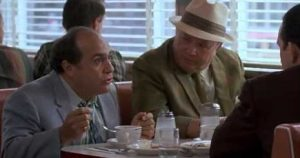 Tilley Danny DeVito and Sam Jackie Gayle exchange witty repartee about a vital topic in Barry Levinsons 1987 masterpiece, Tin Men.