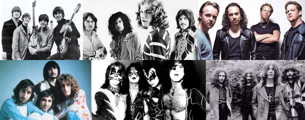The Beatles, Led Zeppelin, Metallica, The Who, Kiss and Black Sabbath